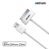 Astrum MFI Certified 30 Pin Charging and Sync USB Cable for iPhone 4/4S/3/3GS, iPad 2/3 - White 1.0M/3.2 Feet